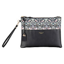 Buy Radley William Morris Collection Leather Clutch Bag, Black Online at johnlewis.com