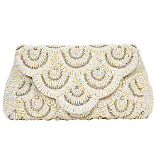 Buy John Lewis Daisy Scallop Beaded Clutch Bag, Silver Online at johnlewis.com