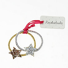 Buy Rockahula Girls' Glitter Star Bobble Hair Bands, Gold/Silver Online at johnlewis.com