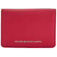 Buy John Lewis Hayley 'You're In Good Hands' Leather Card Holder, Pink Online at johnlewis.com