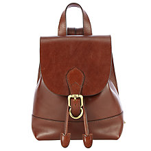 Buy John Lewis Genevieve Mini Leather Backpack, Dark Tan Online at johnlewis.com