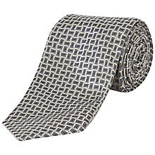 Buy Jaeger Geometric Rectangle Silk Tie, Silver Online at johnlewis.com
