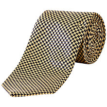 Buy Jaeger Micro Houndstooth Silk Tie, Gold Online at johnlewis.com