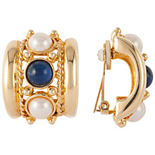 Buy Susan Caplan Vintage 1980s Joan Rivers Faux Pearl Earrings, Blue/Gold Online at johnlewis.com