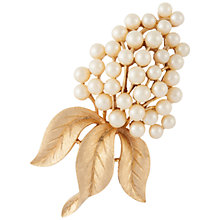 Buy Susan Caplan Vintage 1960s Trifari Leaf Brooch, Gold/Pearl Online at johnlewis.com