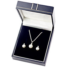 Buy A B Davis Pearl Pendant Necklace and Earrings Box Set, Silver Online at johnlewis.com