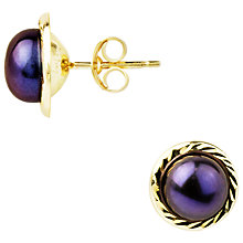 Buy A B Davis 9ct Yellow Gold Border Frehswater Pearl Stud Earrings, 7.5mm, Black Online at johnlewis.com