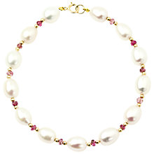 Buy AB Davis 9ct Gold Plated Pearl Tourmaline Bracelet, Gold/White Online at johnlewis.com