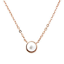 Buy A B Davis Edge Freshwater Pearl Pendant, Rose Gold Online at johnlewis.com