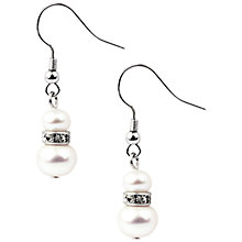 Buy A B Davis Pearl and Swarovski Set Drop Earrings, White/Silver Online at johnlewis.com