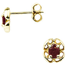 Buy A B Davis 9ct Yellow Gold Flower Stud Earrings, Ruby Online at johnlewis.com