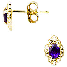 Buy A B Davis 9ct Yellow Gold Marquise Stud Earrings, Amethyst Online at johnlewis.com