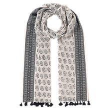 Buy East Jacquard Border Scarf, Black Online at johnlewis.com