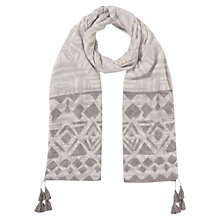 Buy East Geo Border Print Scarf, Smoke Online at johnlewis.com