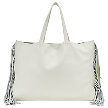 Buy Collection WEEKEND by John Lewis Morgan Fringe Leather Tote, White Online at johnlewis.com