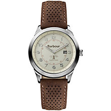 Buy Barbour BB017CPBR Men's Walker Leather Strap Watch, Brown/Cream Online at johnlewis.com