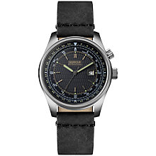 Buy Barbour International BB038SLBK Men's Boldon Leather Strap Watch, Black Online at johnlewis.com