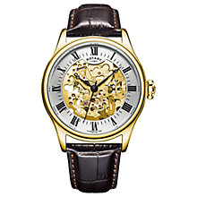 Buy Rotary GS02941/03 Men's Skeleton Leather Strap Watch, Brown/Champagne Online at johnlewis.com
