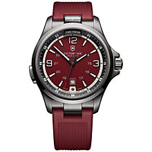 Buy Victorinox 241717 Men's Night Vision Rubber Strap Watch, Red Online at johnlewis.com