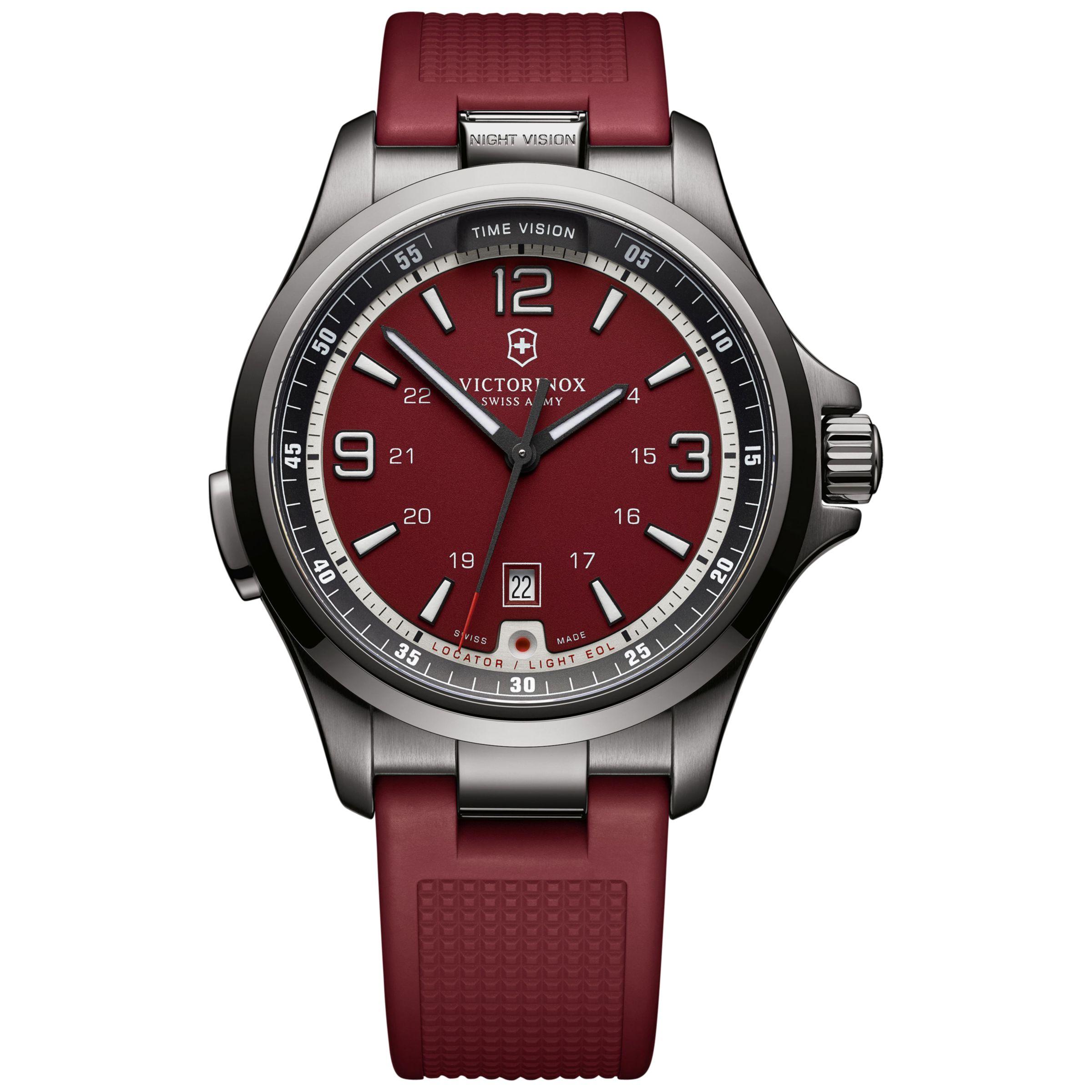 Victorinox Victorinox 241717 Men's Night Vision Rubber Strap Watch, Red
