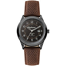 Buy Barbour BB017GNBR Men's Walker Leather Strap Watch, Brown/Black Online at johnlewis.com