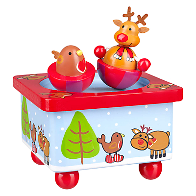 Orange Tree Christmas Reindeer And Robin Music Box