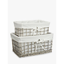 Buy John Lewis Wicker Lined Small & Medium Sized Baskets, Set of 2, Grey Online at johnlewis.com