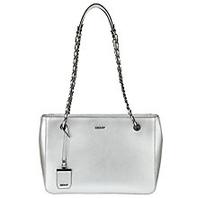Buy DKNY Bryant Park Metallic Saffiano Leather Shopper Bag, Silver Online at johnlewis.com