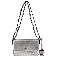 Buy DKNY Bryant Park Saffiano Leather Front Flap Across Body Bag, Silver Online at johnlewis.com