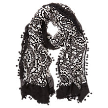 Buy Mint Velvet Alyssa Pom Pom Scarf, White/Black Online at johnlewis.com