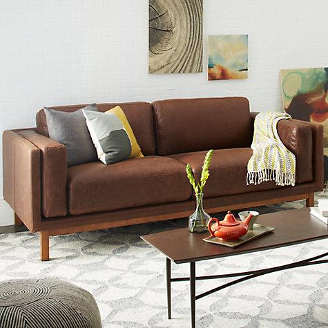 buy west elm dekalb aniline leather sofa molasses john lewis. Black Bedroom Furniture Sets. Home Design Ideas
