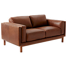 Buy west elm Dekalb Aniline Leather Love Seat, Molasses Online at johnlewis.com