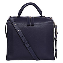 Buy Karen Millen Leather Box Bag, Blue Online at johnlewis.com