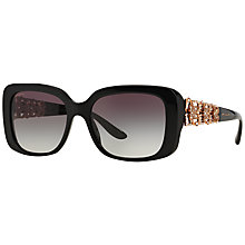 Buy Bvlgari BV8167B Rectangular Bejewelled Sunglasses, Black Online at johnlewis.com