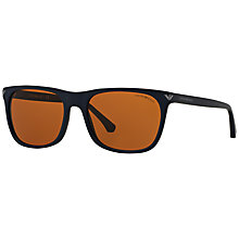 Buy Emporio Armani EA4056 Rectangular Sunglasses, Brown Online at johnlewis.com