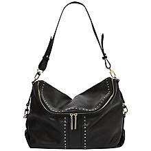 Buy French Connection Jess Slouchy Pin Stud Shoulder Bag, Black Online at johnlewis.com