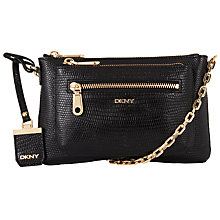 Buy DKNY Sutton Leather Lizard Across Body Bag, Black Online at johnlewis.com