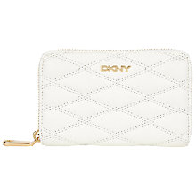 Buy DKNY Gansevort Quilted Nappa Leather Medium Zip Around Purse, White Online at johnlewis.com