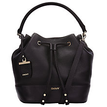 Buy DKNY Tribeca Leather Hobo Bag, Burnt Black Online at johnlewis.com