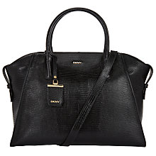 Buy DKNY Sutton Leather Large Lizard Satchel, Black Online at johnlewis.com