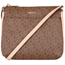 Buy DKNY Heritage Coated Logo Across Body Bag, Brown Online at johnlewis.com