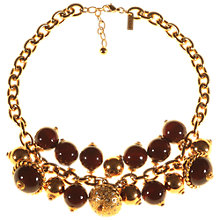 Buy Alice Joseph Vintage 1980s Leritz Drop Wooden Bead Necklace, Gold/Brown Online at johnlewis.com