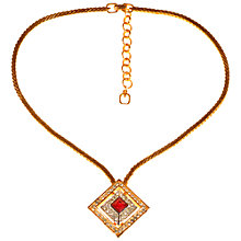 Buy Alice Joseph Vintage 1980s Grosse Square Pendant Chain Necklace, Gold/Red Online at johnlewis.com