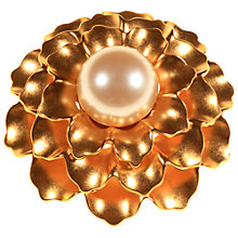 Buy Alice Joseph Vintage 1980s Monet Pearl Petal Brooch, Gold Online at johnlewis.com