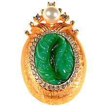 Buy Alice Joseph Vintage Glass Stone and Diamante Oval Brooch, Gold/Green Online at johnlewis.com
