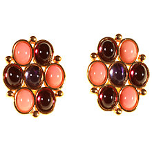 Buy Alice Joseph Vintage 1980s Yves St Laurent Glass Stone Clip Earrings, Lilac/Raspberry Online at johnlewis.com