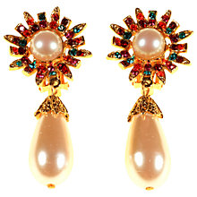 Buy Alice Joseph Vintage Gold Plated Drop Pearl Diamante Clip-On Earrings, Gold Online at johnlewis.com