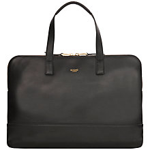 "Buy Knomo Reeves Slim Leather Briefcase for Laptops up to 14"", Black Online at johnlewis.com"