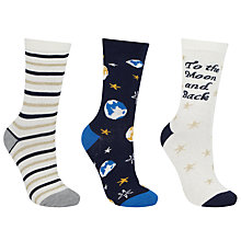 Buy John Lewis To The Moon And Back Ankle Socks, Pack of 3, Navy/Gold Online at johnlewis.com