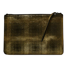Buy French Connection Nahla Metallic Leather Clutch Bag, Black/Gold Online at johnlewis.com